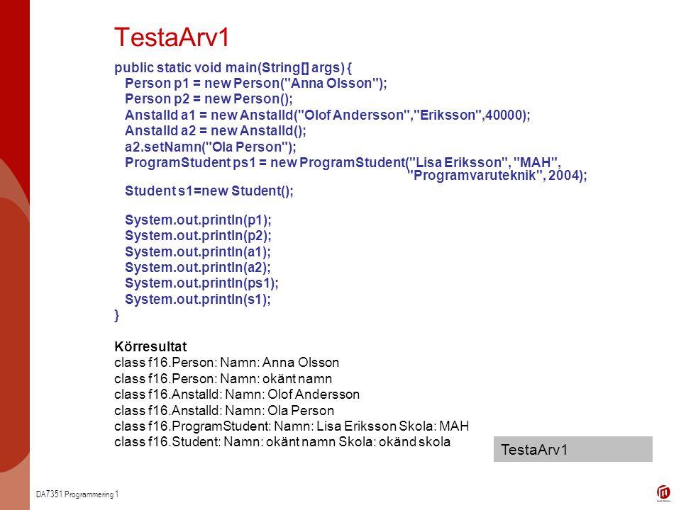 TestaArv1 TestaArv1 public static void main(String[] args) {